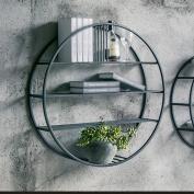 LUYIASI- Nordic Living Room Bedroom Iron Wall Bookshelf Wall Mounts Round Wall Hanging Restaurant Decoration Frame(70cm) Shelf