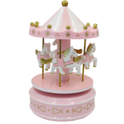 AiSi Luxury Windup 4-horse Carousel Music Box Wooden Merry-Go-Round Toy, Pink