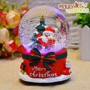 URGrace 1Pcs Merry Christmas Luminous Santa Claus Music Box Crystal Ball Snowflakes And Merry-go-round Clockwork Musical Boxes Creative Christmas Home Decor Ornament Gifts