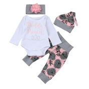 Baby Clothes Set, Dorame Newborn Baby Girl Letter Romper Tops+Floral Pants Hat Outfits Set