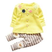 Kids Clothes Set, Dorame Baby Girls Warm Cotton Flower Long Sleeve Cardigan+Long Pants