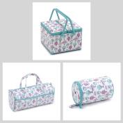 Matching Set - Twin Lid Sewing Box, Knitting Bag (fabric handles) & Wool Holder - C'est La Vie