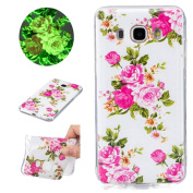 Sycode Luminous Case for Galaxy J5 2016,Scratch-Resistant Bumper Cover for Galaxy J5 2016,Fashion Cool Creative Unique Special Glow in Dark Green Fluorescent Effect Soft Gel Silicone Case for Samsung Galaxy J5 2016 Beautiful Romantic Rose Flower Leaves ..
