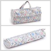 Matching Set - Knitting Bag (fabric handles) & Knitting Pin Soft Case - Homemade