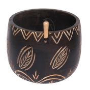 KnitPro Boxes Yarn Bowl-Leafy, Wood, Multi-Colour, 12 x 12 x 10 cm
