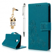 For Samsung Galaxy J5 Case 2017,YOKIRIN PU Leather Wallet Case Magnetic Flip Folio Notebook Embossed Clover with Kickstand Stand Card Holder Slot (Dust Plug & Stylus Pen) Blue