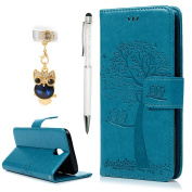 For Samsung Galaxy J5 Case 2017,YOKIRIN PU Leather Wallet Case Magnetic Flip Folio Notebook Embossed Owl Tree with Kickstand Stand Card Holder Slot (Dust Plug & Stylus Pen) Blue