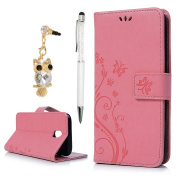 For Samsung Galaxy J5 Case 2017,YOKIRIN PU Leather Wallet Case Magnetic Flip Folio Notebook Embossed Butterfly Flower with Kickstand Stand Card Holder Slot (Dust Plug & Stylus Pen) Pink