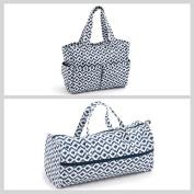 Matching Set - Knitting Bag (fabric handles) & Craft Bag ( PVC) - Scribble Diamond