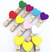 50Pcs Wood-Clips Coloured Craft Mini Heart Pegs for Sock or Memo Paper DIY Creative Photo Clips