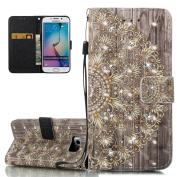 ISAKEN Galaxy S6 Edge Case, Galaxy S6 Edge Cover, Wallet Case with Flip Stand for Samsung Galaxy S6 Edge, Bookstyle Printing Drawing Inlaid Bling Shiny Glitter Diamond PU Leather Magnetic Flip Wallet Case PUrse Bag Cell Phone Case mobile Cover Protect ..