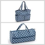 Matching Set - Knitting Bag (fabric handles) & Craft Bag ( PVC) - Denim Polka Dot