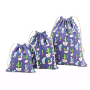 Westeng Cotton Drawstring Bags Linen Bags Storage Pouch Gift Sacks Cactus Printing Wedding Party Favour 3 Sizes, 3 Pcs