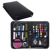ofoen Sewing Kit, 58 Pieces Mini Portable Multi-Coloured Household Accessories Sewing Thread Spools Household Needlework Box for Home Travel Emergency Use Black