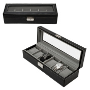 KOTiger Watch Box 6 Mens Black Leather Display Glass Top Jewellery Case Organiser Display-Box