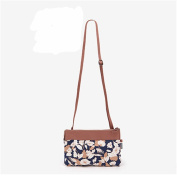 GUJJ Fresh female messenger single shoulder carry small mobile phone package hand two packages, brown flower