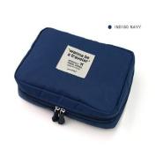 GUJJ Multifunction travel admission packet waterproof vanity package cosmetic bag, navy blue