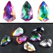 HUUATION 7pcs 3D Nail Art Decorations Coloured Glitter Rhinestones Charm Crystal Gemstones
