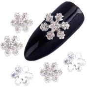 QIMEIYA 10Pcs Alloy 3D Nail Art Stickers White Snowflakes Christmas Glitter Nail Gel Tools DIY Rhinestone Crystal Decoration