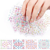 20 Sheets Nail Sticker Colourful Mixed Decal Manicure Tip 3D Decorations Tool