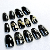 EchiQ Metal Gearwheel Ballerina Coffin Fake Nails Acrylic Long Nail Tips Black with Glitter Mechanical Style Square Head False Nails