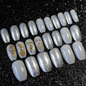 EchiQ Metal Gearwheel Ballerina Coffin Acrylic Nail Tips Silver Grey with Glitter Mechanical Style Fake Nails Square Head False Nails