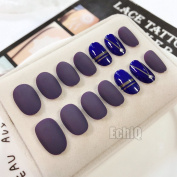 EchiQ Matte Dark Purple Fake Nail with Metallic Line Acrylic Full Cover Blue False Nails Nail Art for Beauty Girls 28pcs/set