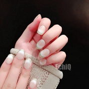 EchiQ Beige French False Nails Tips with Bling Gold Glitter Gradient Full Artificial Fake Nail for Home Office