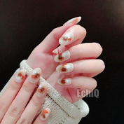 EchiQ Fashion Beige False Nails Tips with Bling Glitter Brown White Doodle Small Round Head Full Artificial Fake Nail for Home Office