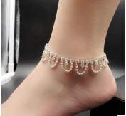 GONO Crystal Charm Drop Twinkle Ankle Chain Bracelet for Wedding Accessory