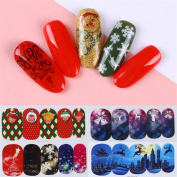 Born Pretty 45 Sheets Nail Art Water Sticker Christmas Tree Deer Snow Manicure Transfer Decals DIY Decoration Kit
