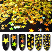 6Pcs Laser Sparkle Gold Star Nail Sequins Glitters DIY Paillette Manicure Nail Art Decorations