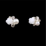 Vasyle 10pcs Nail alloy quick sell through hot diamond pearl flower nail alloy jewellery nail metal paste