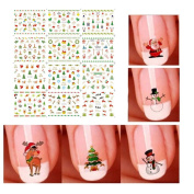 LUOEM Christmas Nail Art Sticker Decals Water Transfer 3D Manicure Watermark Tattoos Nail Art Christmas Gift