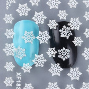1 Sheet Christmas 3D Nail Stickers White Snowflake Pattern Nail Manicure Decoration