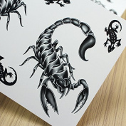 Pinzhi 2x Black Sexy Waterproof Temporary Totem Tattoo Lizard Scorpion Sticker Paster Body Skin Art