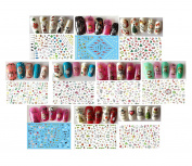 10pcs Mix Colourful Cute Santa Claus Elk Christmas Tree Nail Art Sticker Xmas Gift Manicure Beauty