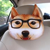 q HuanLeBao 3D Dog/Cat Car Headrest Neck Pillow Car Seat Cushion Car Neck Pillow Four Seasons Cartoon Interior Accessories , D