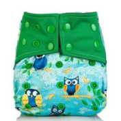 Treasure-House Cloth Nappies One Size Adjustable Washable owl Reusable for Baby Girls and Boys