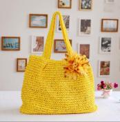 Women's Flower Straw Woven Beach Sea Bag Handbag Tote , C