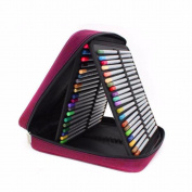 Outdoortips 120 Slots Coloured Pencil Case Multilayer Foldable Drawing Hoder Organiser Bag with Zipper Red