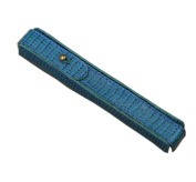 Nice Luxury Lizard Grain Pen Holder Blue Premium Genuine Leather with Snap Closure for Single Capacity Portable Pen Case