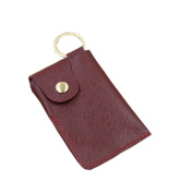 Red Portable Blocking Sleeves Genuine Leather Luxury Deluxe Handmake Credit Debit Cards Protectors Slim Card Holders with Key Ring