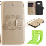 Panda Embossing Samsung A3 2017 Wallet Case, Ekakashop Luxury Retro Simple Candy colour Colourful Fashion Creative Design Hand-Strap Bookstyle Shockproof Full Body Leather Flip Folio Closure Wallet Case Cover for Samsung Galaxy A3 2017 with 1X Kickstan ..