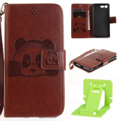 Panda Embossing Sony Xperia X Compact Wallet Case, Ekakashop Luxury Retro Simple Candy colour Colourful Fashion Creative Design Hand-Strap Bookstyle Shockproof Full Body Leather Flip Folio Closure Wallet Case Cover for Sony Xperia X Compact with 1X Kic ..