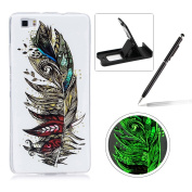 For Huawei P8 Lite Silicone Case,Herzzer Creative Unique Stylish [Retro Feather] Drawing Pattern [Night Luminous] Effect Fluorescent Glow In The Dark Ultra Slim Soft Silicone Gel TPU Rubber Back Cover for Huawei P8 Lite + 1 x Free Black Cellphone Kicks ..
