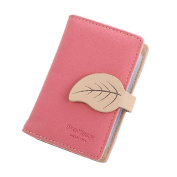HENGSONG PU Leather Credit Card Holder ID Card Holder Wallet with Maple Leaf Button