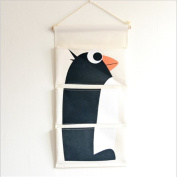 margueras Linen/Cotton Fabric Wall Hanging Storage Bag Organiser Bag Storage Pouch Basket Penguin