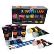 Acrylic Paint Studio Paints Set 12 Extra Large 75 ml(2.5 oz)Professional Grade Painting Kit For Canvas, Wood, Clay, Fabric, Nail Art, Ceramic & Crafts.Students & Professionals Crafts 4 All