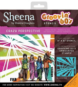 Sheena Douglass Grooving 60's Stencil Crazy Perspective, Clear, 20cm x 20cm